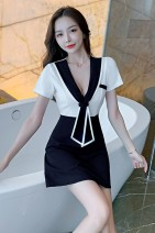 Dress Autumn 2020 White, red M,S,L,XL Short skirt singleton  Short sleeve commute Admiral middle-waisted Socket A-line skirt Others 18-24 years old Type A lady
