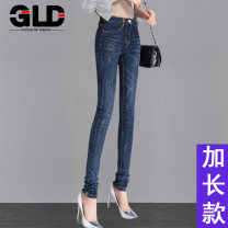 Jeans Spring of 2018 26 27 28 29 30 31 32 33 34 flanging 9-point pants dual style trousers Natural waist Pencil pants routine 18-24 years old Wash and whiten zipper button with multiple pockets and other scratch patterns Cotton elastic denim Dark color MY-3317-6 Guilandot