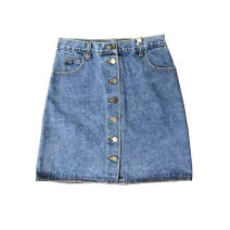 skirt Summer of 2019 S, M blue Middle-skirt street Natural waist A-line skirt Solid color Type A cotton Europe and America