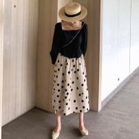 skirt Summer of 2019 S,M,L Milk tea color Mid length dress commute High waist A-line skirt Dot Type A 71% (inclusive) - 80% (inclusive) other Yufei polyester fiber Korean version