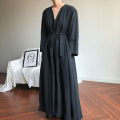 Dress Autumn of 2018 Apricot, black Average size longuette singleton  Long sleeves commute V-neck Loose waist Solid color routine Type A Other / other 31% (inclusive) - 50% (inclusive) cotton