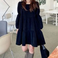 Dress Spring 2021 black Average size Middle-skirt singleton  Long sleeves commute square neck Loose waist Solid color zipper Big swing puff sleeve 18-24 years old Korean version 51% (inclusive) - 70% (inclusive) polyester fiber