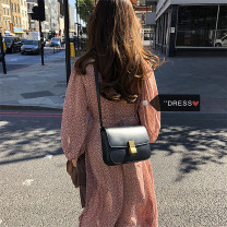 Dress Spring 2021 gules Average size Mid length dress singleton  Long sleeves commute V-neck High waist Decor zipper bishop sleeve 18-24 years old Type H Other / other Korean version Chiffon
