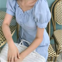 Dress Summer 2021 blue Average size Middle-skirt singleton  Short sleeve commute V-neck High waist Solid color puff sleeve 18-24 years old Retro 31% (inclusive) - 50% (inclusive) cotton