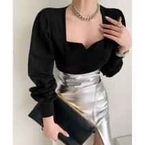 Fashion suit Spring 2021 Average size Black T, leather skirt s, Leather Skirt M 18-25 years old 51% (inclusive) - 70% (inclusive) polyester fiber