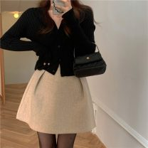 Fashion suit Spring 2021 Average size Black sweater, apricot skirt s, apricot Skirt M 18-25 years old 31% (inclusive) - 50% (inclusive) polyester fiber