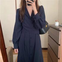 Dress Autumn 2020 Black Navy, army grey Average size Mid length dress singleton  Long sleeves tailored collar High waist Solid color Single breasted Big swing other Others 18-24 years old Frenulum 31% (inclusive) - 50% (inclusive) other other