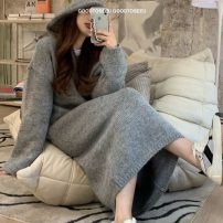 sweater Winter 2020 Average size grey Long sleeves Socket singleton  Medium length other 31% (inclusive) - 50% (inclusive) Hood thickening commute routine Solid color Regular wool 18-24 years old acrylic fibres