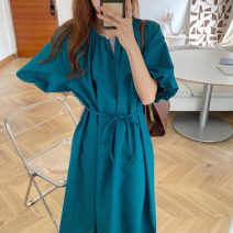 Dress Summer 2020 Peacock blue, Matcha green, hemp color Average size Mid length dress singleton  Short sleeve commute Crew neck Loose waist Solid color puff sleeve 18-24 years old Retro 31% (inclusive) - 50% (inclusive) polyester fiber