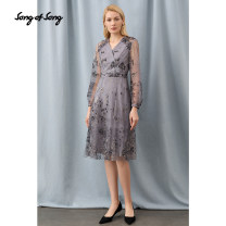Dress Spring 2021 grey Please consult tmall customer service for changing clothes. Don't shoot s / 36 m / 38 L / 40 XL / 42 XXL / 44 Mid length dress singleton  Long sleeves commute Crew neck High waist Broken flowers zipper A-line skirt bishop sleeve 35-39 years old Type X Song of song lady other
