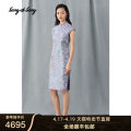 cheongsam Summer 2020 Please contact customer service for changing clothes, do not take M / 38 L / 40 XL / 42 XXL / 44 Light blue Short sleeve Single cheongsam grace Low slit daily Semicircle lapel Broken flowers Over 35 years old Embroidery 5C30205310 Song of song other 30% and below