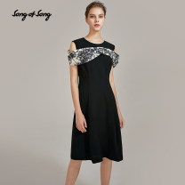 Dress Autumn 2020 black and white Please consult tmall customer service for changing clothes. Don't shoot s / 36 m / 38 L / 40 XL / 42 XXL / 44 Mid length dress singleton  Short sleeve commute Crew neck High waist Solid color zipper A-line skirt other 35-39 years old Type X Song of song lady other