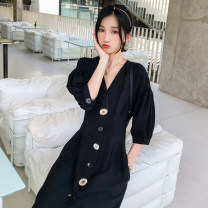 Dress Spring 2020 black S M L Mid length dress singleton  three quarter sleeve commute V-neck middle-waisted Solid color Single breasted A-line skirt raglan sleeve Others 18-24 years old Type A BLUESTREAK Ⅱ Retro Pleated pocket button 9606A 30% and below nylon