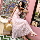 Dress Winter of 2019 Pink S M L Mid length dress singleton  Sleeveless Sweet V-neck middle-waisted Solid color Socket Big swing camisole 18-24 years old Type A BLUESTREAK Ⅱ More than 95% Chiffon polyester fiber Polyester 100% Bohemia