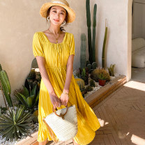 Dress Spring 2021 yellow S M L longuette singleton  Short sleeve Sweet square neck High waist Solid color Socket A-line skirt routine 25-29 years old Type A BLUESTREAK Ⅱ Fold splicing More than 95% Chiffon polyester fiber Polyester 100% Bohemia Pure e-commerce (online only)