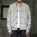 Jacket Other / other Youth fashion Light grey, black M,L,XL,2XL,3XL,4XL,5XL routine standard Other leisure spring Polyester 92% other 8% Long sleeves Wear out Baseball collar Chinese style Large size routine Single breasted 2021 Straight hem Loose cuff Animal design polyester fiber Embroidery
