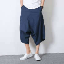 Casual pants Others Youth fashion M,L,XL,2XL,3XL,4XL,5XL routine Cropped Trousers Other leisure Extra wide No bullet summer Large size Chinese style 2021 middle-waisted Little feet Low crotch straddle pants Solid color hemp Hemp cotton Domestic non famous brands Less than 30%