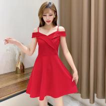 Dress Summer 2020 Black, red S,M,L,XL Short skirt singleton