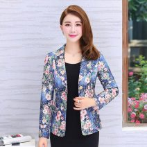 suit Spring of 2018 Red, blue L,XL,2XL,3XL,4XL Long sleeves routine Self cultivation tailored collar Single breasted commute routine Plants and flowers 40-49 years old cotton Pocket, button, print