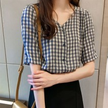 shirt M,L,XL Spring 2021 Cellulose acetate 96% and above Short sleeve commute Regular V-neck Single row multi button routine lattice 18-24 years old Straight cylinder Korean version polyester cotton