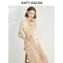 Dress Summer of 2019 Apricot Mid length dress singleton  Long sleeves commute Polo collar High waist Solid color Single breasted A-line skirt routine Others 25-29 years old Type X Katy kalen Retro Bow pocket tie 31% (inclusive) - 50% (inclusive) other polyester fiber Pure e-commerce (online only)