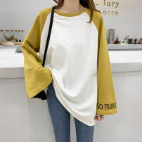 T-shirt White body and yellow sleeves Average size Autumn 2020 Long sleeves Crew neck easy Medium length raglan sleeve commute cotton 96% and above 18-24 years old Korean version classic Color matching of letters Nila t861938 Print stitching Cotton 100% Pure e-commerce (online only)