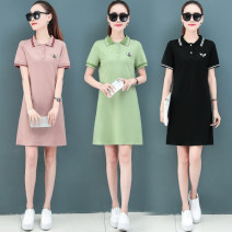 Dress Summer 2021 809 pink, 809 black, 809 light green M,L,XL,2XL,3XL,4XL Mid length dress singleton  Short sleeve commute Polo collar High waist Solid color Single row two buttons other routine Others 25-29 years old Type A Korean version 71% (inclusive) - 80% (inclusive) corduroy nylon