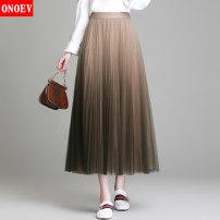 skirt Spring 2020 Average size (80-140 kg) Zs8828 black gray gradient zs8828 Khaki gradient Mid length dress commute High waist Pleated skirt Type A ON-ZS88 28 Onoev Korean version