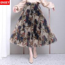 skirt Spring 2020 Average size (80-140 kg) Zs9059 blue flower 1 # zs9059 red flower 2 # zs9059 green 3# Mid length dress commute High waist Pleated skirt Type A ON-ZS9059 Onoev Korean version