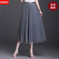 skirt Summer 2020 Average size (80-140 kg) Zs9079 black zs9079 apricot zs9079 dark green zs9079 gray zs9079 Khaki Mid length dress commute High waist Pleated skirt Solid color ON-ZS 9079 Onoev Korean version