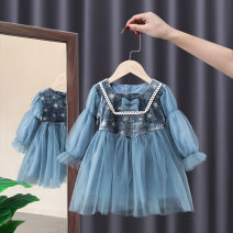 Dress Blue, pink female Tagkita / she and others 90cm,100cm,110cm,120cm,130cm Other 100% spring and autumn princess Long sleeves other other A-line skirt Class B 12 months, 6 months, 9 months, 18 months, 2 years old, 3 years old, 4 years old, 5 years old, 6 years old, 7 years old Chinese Mainland