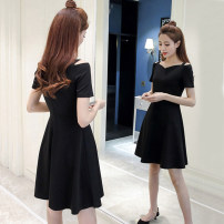 Dress Summer of 2018 Black [quality edition] S,M,L,XL,2XL,3XL,4XL Middle-skirt singleton  Short sleeve commute One word collar High waist Solid color zipper A-line skirt routine Others 18-24 years old Korean version zipper