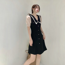 Dress Summer 2021 Black, recommended for collection, small gift for additional purchase S,M,L Short skirt singleton  Short sleeve commute Doll Collar High waist zipper A-line skirt puff sleeve Others Type A