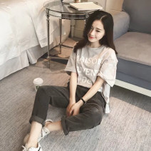 T-shirt grey Average size Summer 2020 Short sleeve Crew neck easy have cash less than that is registered in the accounts routine commute cotton 96% and above 25-29 years old Korean version youth Solid color, color matching, stitching Fleroez / flotz ll02401 3D, printing, splicing