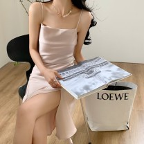 Dress Summer 2021 Elegant black, ice cream white, dry rose, elegant apricot, mint green S,M,L,XL Middle-skirt singleton  Sleeveless commute other Solid color Irregular skirt routine Type A Korean version 51% (inclusive) - 70% (inclusive) Silk and satin Cellulose acetate