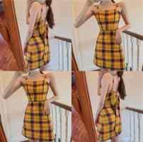 Dress Summer 2020 Orange check S, M Short skirt singleton  Sleeveless commute High waist A-line skirt camisole 18-24 years old Type A Ezrin Korean version lYAuJ