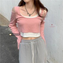 T-shirt Grey, black, pink Average size Spring 2021 Long sleeves cotton 30% and below 18-24 years old