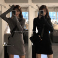 Dress Spring 2021 Gray, black Average size Middle-skirt singleton  Long sleeves commute routine 18-24 years old Korean version 30% and below