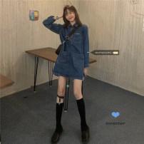 Dress Spring 2021 skirt Average size Short skirt singleton  Long sleeves commute Polo collar Decor routine 18-24 years old Korean version 30% and below