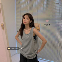 T-shirt Grey, white, black, brown Average size Summer 2021 Sleeveless Crew neck easy Regular routine commute other 30% and below 18-24 years old Korean version Solid color Other / other