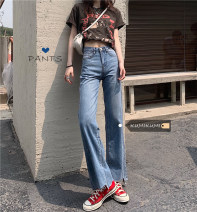 Jeans Summer 2021 blue S,M,L trousers High waist Wide legged trousers routine 18-24 years old other other light colour 30% and below