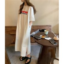 Dress Summer 2021 White, Navy Average size longuette singleton  Short sleeve commute Crew neck Loose waist letter Socket A-line skirt routine 18-24 years old Type A Korean version printing 30% and below other