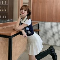 Fashion suit Spring 2021 S. M, average size White Polo shirt, white pleated skirt, blue knitted vest, diamond knitted vest 18-25 years old 30% and below polyester fiber