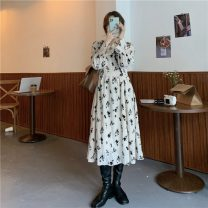 Dress Spring 2021 Apricot Average size Mid length dress singleton  Long sleeves commute V-neck middle-waisted Dot zipper Princess Dress routine Others 18-24 years old Type A Korean version printing 30% and below other polyester fiber