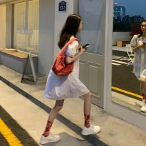 Dress Summer 2021 White, watermelon red, black Average size Short skirt singleton  Short sleeve commute V-neck High waist Solid color Socket A-line skirt puff sleeve 18-24 years old Type A Korean version 30% and below other