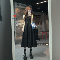 Dress Spring 2021 black Average size Mid length dress singleton  Sleeveless commute One word collar High waist Solid color Socket camisole 18-24 years old Type A Korean version 30% and below