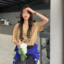T-shirt Khaki, white Average size Summer 2021 Short sleeve Crew neck easy Medium length routine commute cotton 30% and below 18-24 years old Korean version Cartoon animation