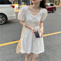Dress Summer 2021 White, black S, M Middle-skirt singleton  Short sleeve commute V-neck High waist Solid color Socket A-line skirt puff sleeve 18-24 years old Type A Korean version 30% and below other