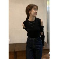 T-shirt Black shoulder, blue shoulder Average size Spring 2021 Long sleeves Crew neck Self cultivation Regular routine commute other 30% and below 18-24 years old Korean version youth Solid color