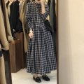 Dress Spring 2021 Picture color Average size longuette singleton  Long sleeves commute stand collar Loose waist lattice Socket A-line skirt routine 18-24 years old Type A Korean version 30% and below other